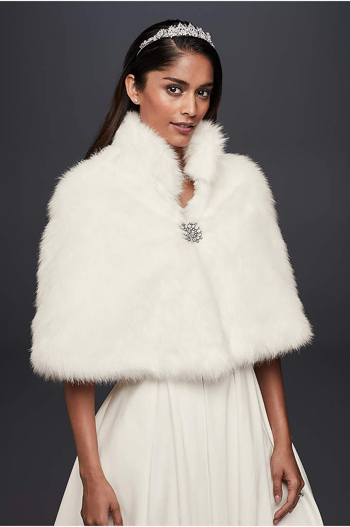 Faux-Fur Capelet with Jeweled Brooch - A winter bride's best friend, this snow-white capelet