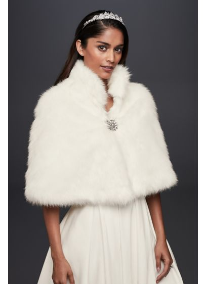Faux-Fur Capelet with Jeweled Brooch - Wedding Accessories