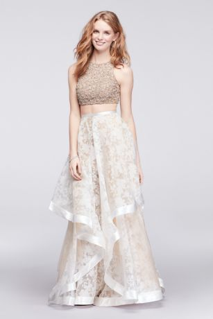 3c41e6cd55 Crop Top and Printed Skirt Two-Piece Dress | David's Bridal