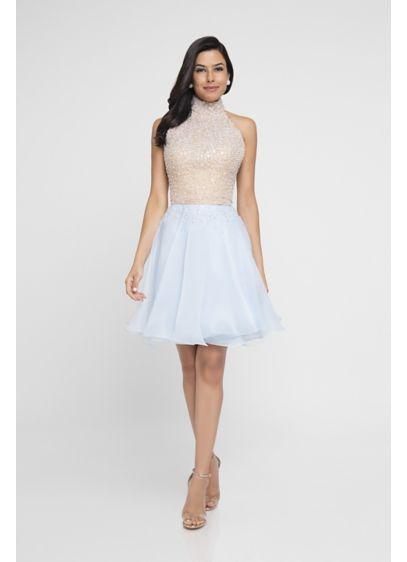 26c6e312b23 Beaded Halter Top Short Dress David S Bridal