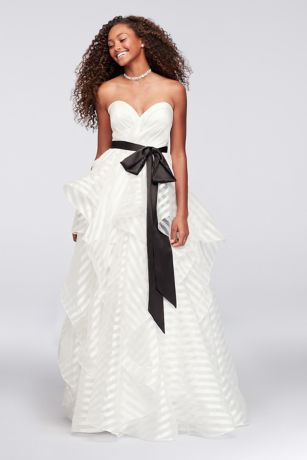 Satin and Striped Organza Ball Gown with Sash | David\'s Bridal