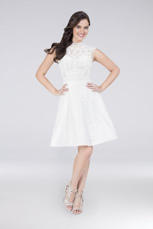 Short A-Line Cap Sleeves Dress - Terani Couture