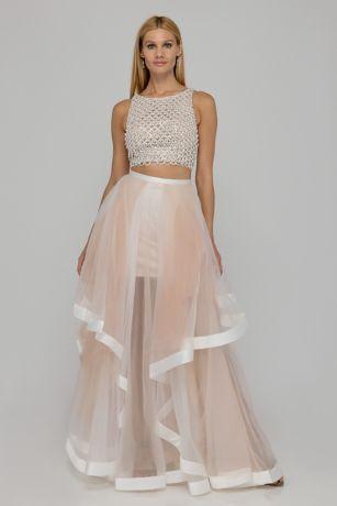 Long Ballgown Halter Dress - Terani Couture