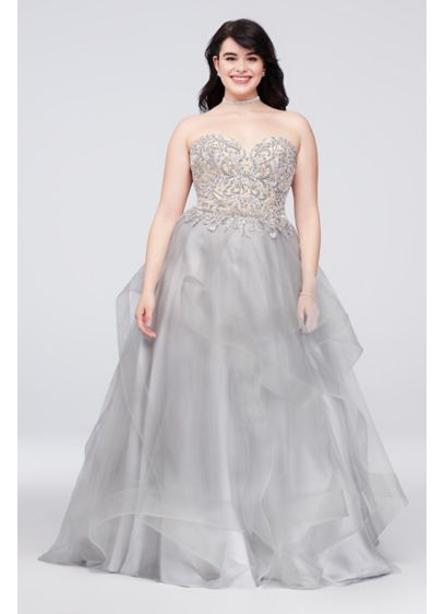 Appliqued Illusion Ruffled Plus Size Ball Gown | David\'s Bridal