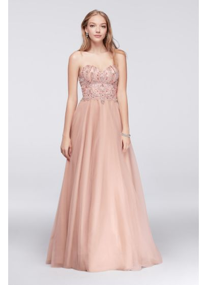 Embellished Tulle Ball Gown with Basque Waist | David\'s Bridal