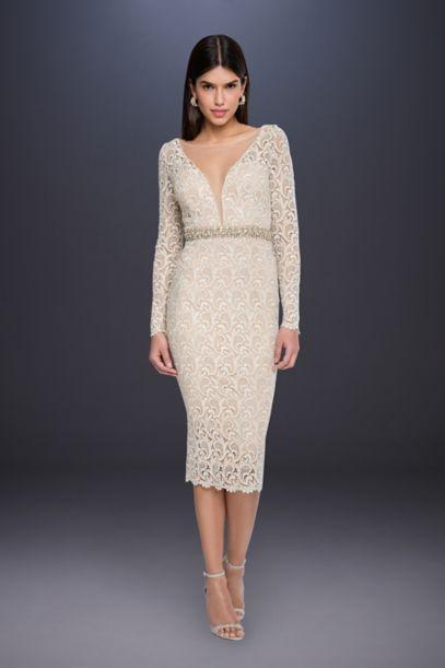 Long Sleeve Lace Short Wedding Dress With Beading David S Bridal