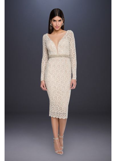 Long Sleeve Lace Short Wedding Dresswith Beading - With its long sleeves and plunging illusion mesh