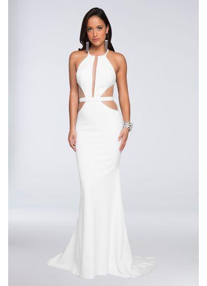Scuba Crepe Sheath Wedding Dress with Mesh Cutouts - Bold and daring, this scuba crepe sheath dress