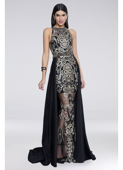Embroidered Illusion Sheath Gown with Overskirt - Totally stunning, this embroidered illusion sheath gown features