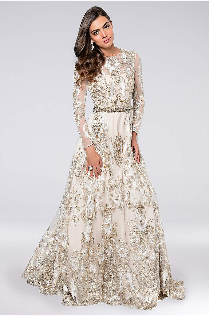 Long Sleeve Metallic Embroidery Illusion Ball Gown - Intricate metallic embroidery shimmers gorgeously on this long-sleeve