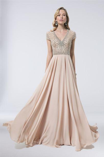 V Neck Illusion Bodice Gown With Sunburst Beading Davids Bridal