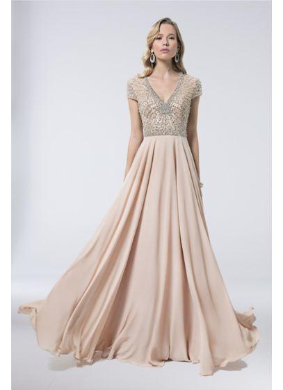 de6b5f805af ... Illusion Bodice Gown with Sunburst Beading. 1712M3429. Long Mermaid   Trumpet Capelet Formal Dresses Dress - Terani Couture