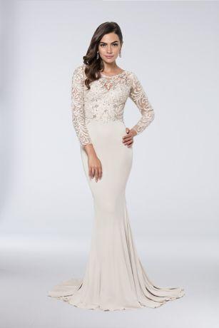 Long Sheath Long Sleeves Dress - Terani Couture