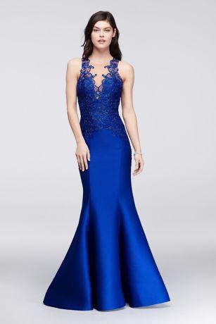 Trumpets Blue Long Dresses