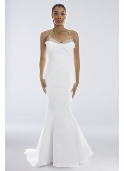 Crystal Detail Matte Mikado Mermaid Wedding Dress - Skinny spaghetti straps and a crystal-accented neckline add