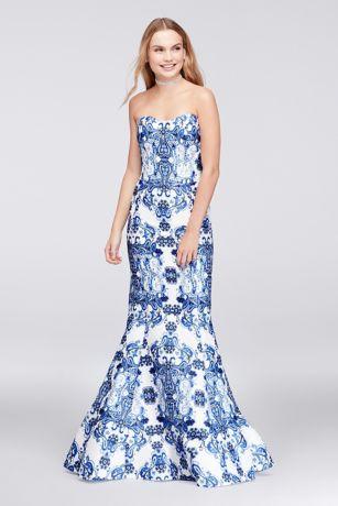Paisley Print Mikado Mermaid Gown | David\'s Bridal
