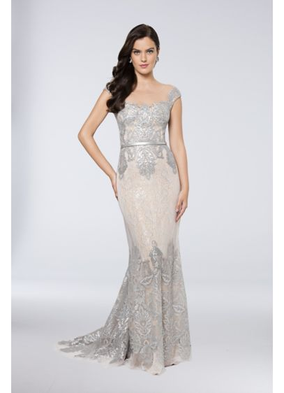 Sequined Tulle-Over-Lace Sheath Gown - Shimmering sequin appliques cover the illusion cap sleeve