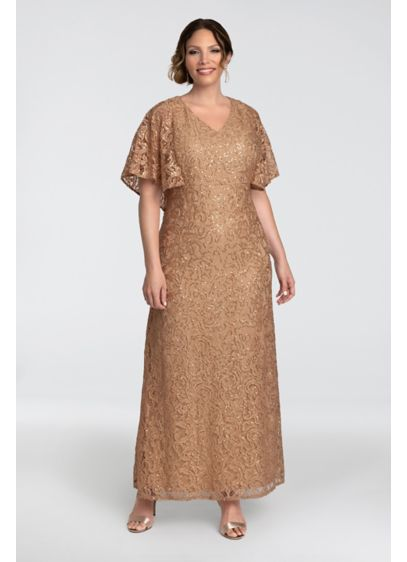 Celestial Cape Sleeve Lace V-Neck Plus Size Gown - Make a grand entrance in the exquisite lace