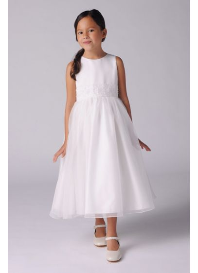 Beaded Sash Satin Organza Flower Girl Ball Gown - The sleek bodice on this tank flower girl