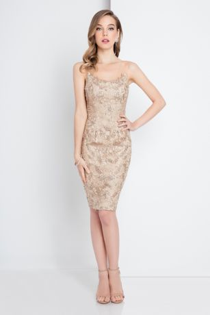 Short Sheath Spaghetti Strap Dress - Terani Couture