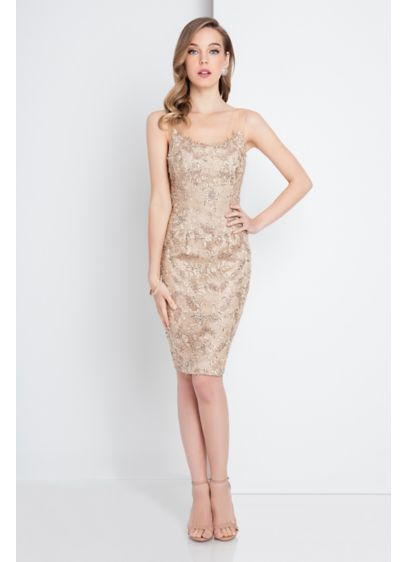 Short Sheath Spaghetti Strap Cocktail and Party Dress - Terani Couture