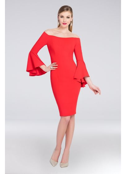 Off-the-Shoulder Crepe Bell Sleeve Sheath Dress - Take a spin in this fantastic crepe sheath
