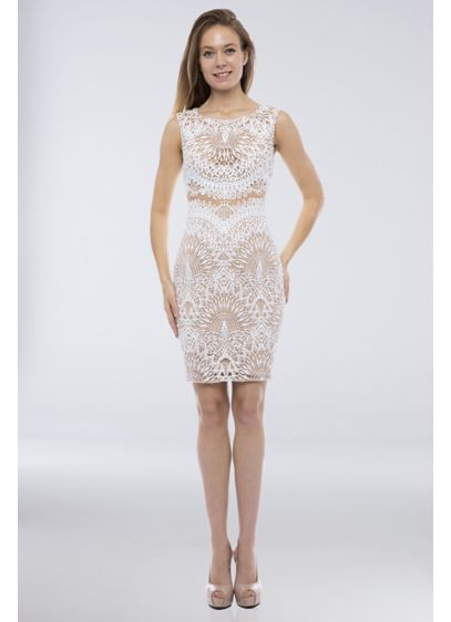 Mock Two-Piece Lace Boatneck Cap Sleeve Mini Dress - Perfect for casual ceremonies, receptions, or bachelorette parties,