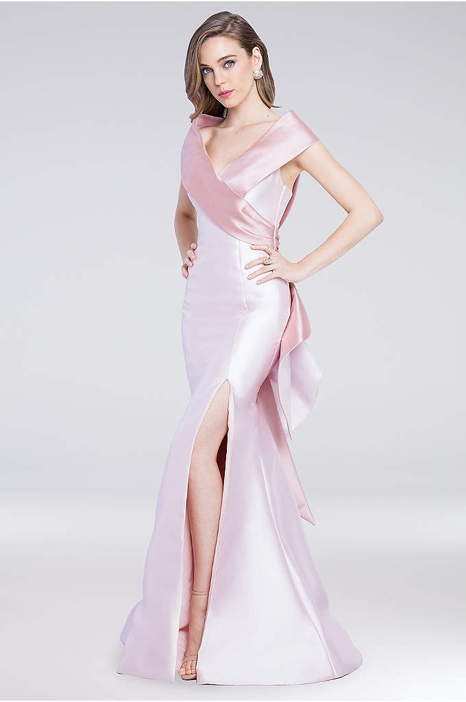 Portrait Collar Mikado Gown with Cascading Ruffle - The tonal portrait collar of this shimmering mikado