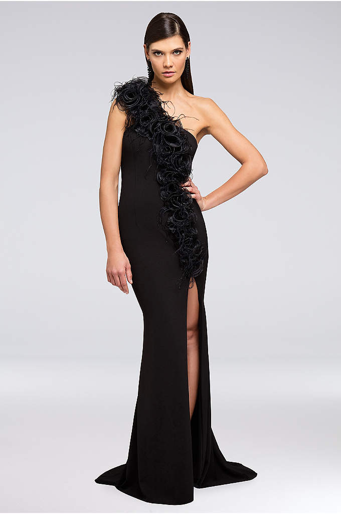 3D-Floral Applique One-Shoulder Sheath Gown - A wispy floral accent crosses from the one-shoulder