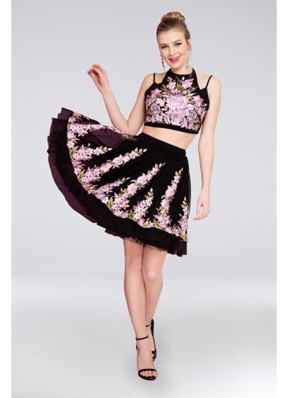 Embroidered Crop Top and Tulle Skirt Two-Piece Set - Embroidered flowers bloom allover this cute two-piece dress.