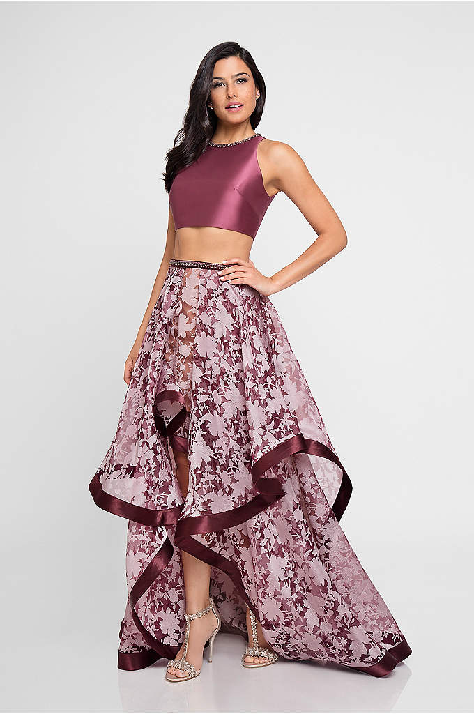 Mikado Two-Piece Dress with Burnout High-Low Skirt - Is your prom ready for a ton of