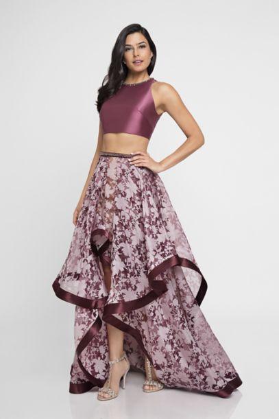 Mikado Two Piece Dress With Burnout High Low Skirt Davids Bridal