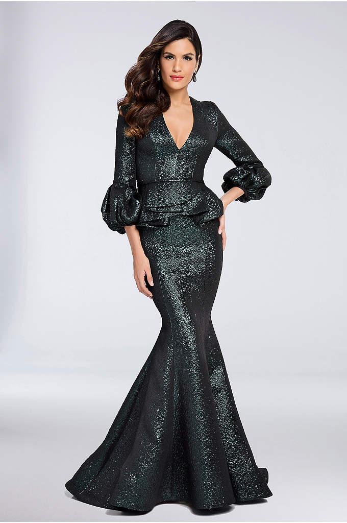 3/4 Sleeve V-Neck Brocade Mermaid Peplum Dress - This lustrous brocade dress is full of eye-catching