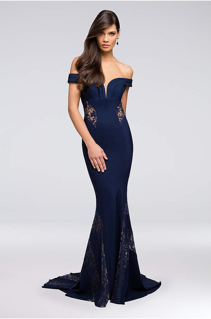 Lace-Inset Plunging Off-the-Shoulder Gown - Sleek lace insets on the sides, back, and