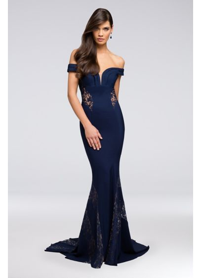 Long Mermaid/Trumpet Off the Shoulder Cocktail and Party Dress - Terani Couture