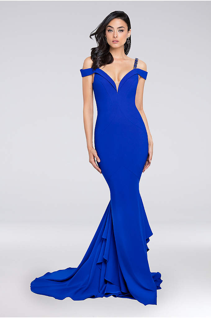 Beaded Strap Plunging Off-the-Shoulder Gown - This curve-hugging off-the-shoulder crepe gown is finished with