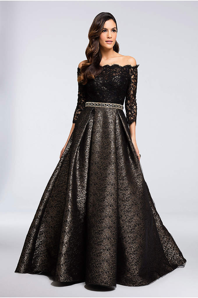 Belted Scallop Lace Ball Gown with Metallic Skirt - Perfect for formal weddings or other black-tie events,