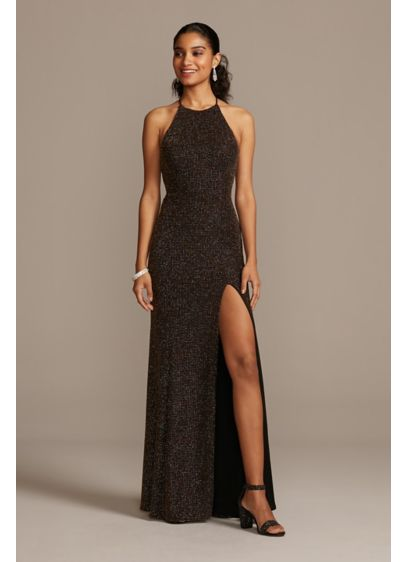Glitter Knit High Neck Dress with Back Cutout - Dare to dazzle in this form-fitting glitter knit