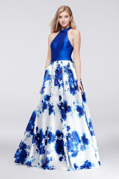Mikado Halter Ball Gown with Floral-Print Skirt | David's ...