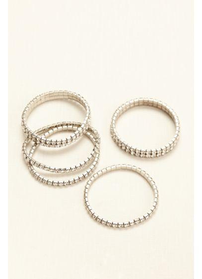 Five Piece Stretch Multi Crystal Bracelets - Wedding Accessories