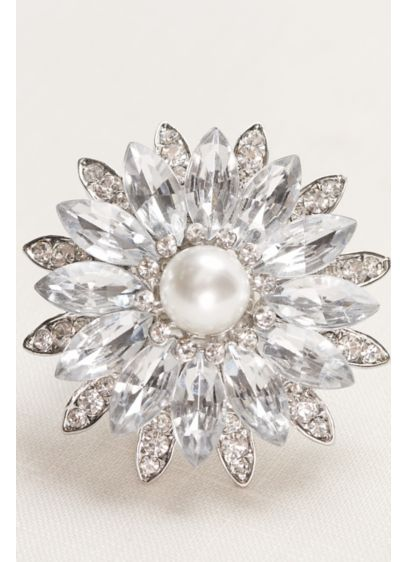 David's Bridal Grey (Crystal and Pearl Flower Stretch Ring)