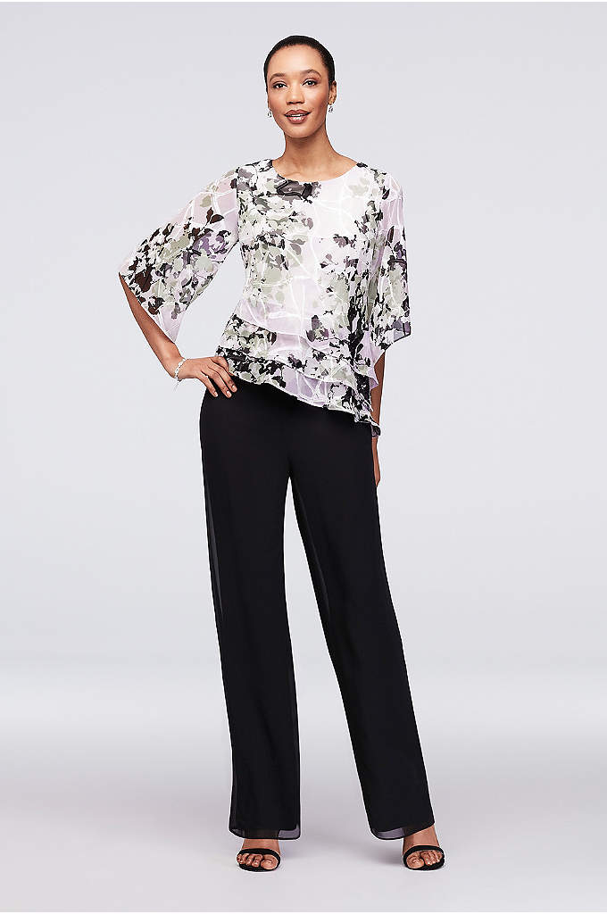 Chiffon Pantsuit with Asymmetric Tiered Hem - An easy-breezy look for the mother of the