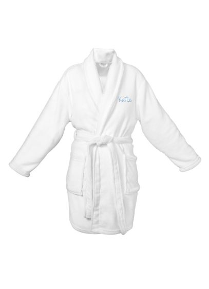 DB Exclusive Personalized White Plush Robe - Wedding Gifts & Decorations