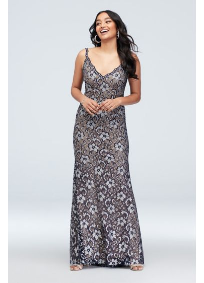 Floral Embellished Deep-V Gown with Lace Trim - Metallic blooms and dazzling crystals pop against the