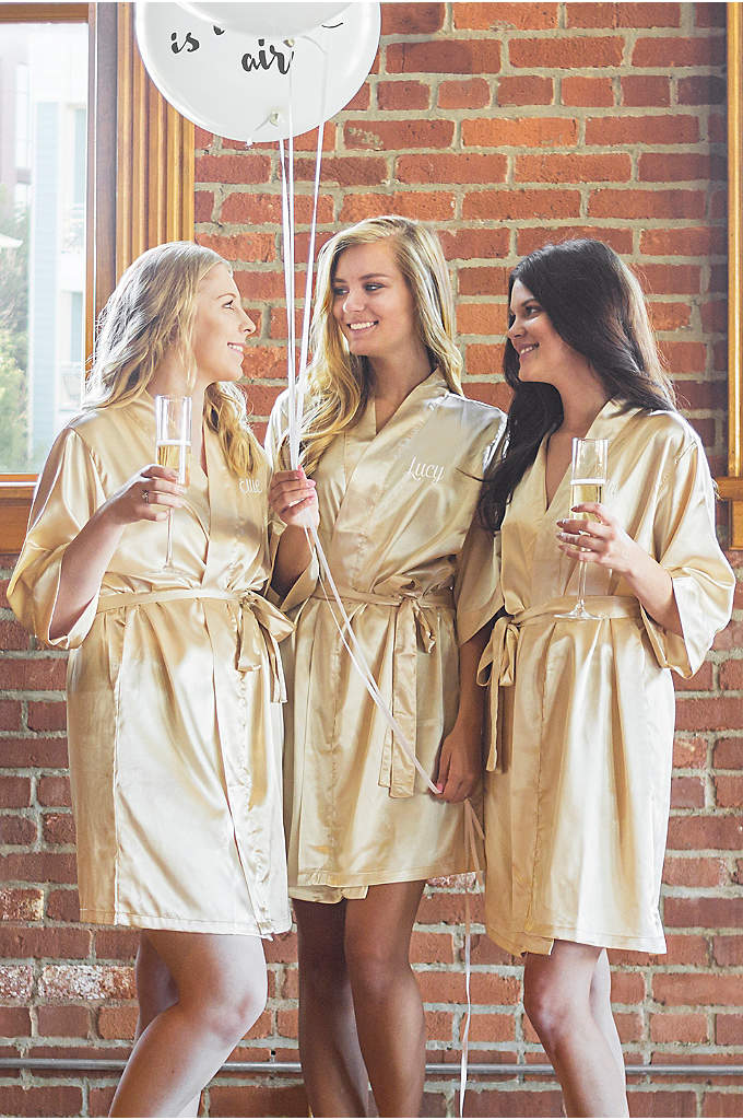 Personalized Embroidered Name Luxury Satin Robe - Let your bridesmaids wrap themselves up in these