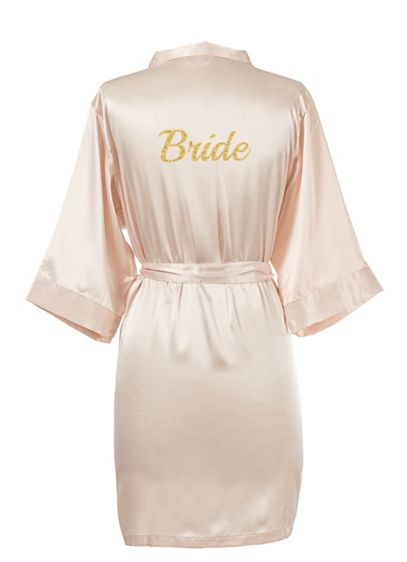 Glitter Script Bride Luxury Satin Robe - Wedding Gifts & Decorations