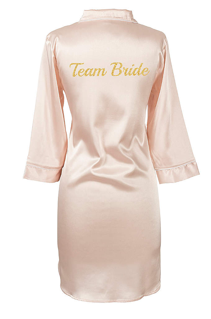 Glitter Script Team Bride Satin Night Shirt - Dress your bridal party in comfort as they