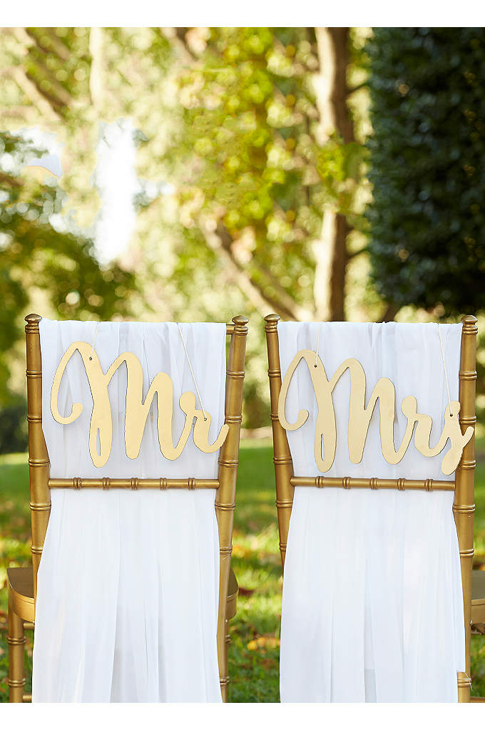 Gold Promises Classic Mr and Mrs Chair Signs - Perfect for decorating bride and groom chairs at