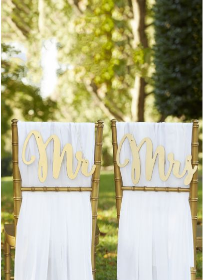 Yellow (Gold Promises Classic Mr and Mrs Chair Signs)