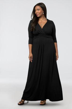 Long A-Line 3/4 Sleeves Dress - Kiyonna